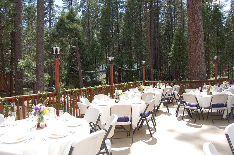 Wedding venue setup on the outdoor deck